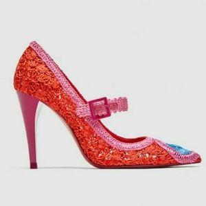 Zara Reddish Orange And Pink Crochet Pumps